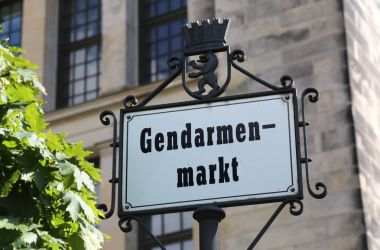 indication of the main square of Berlin  called Gendarmenmarkt t