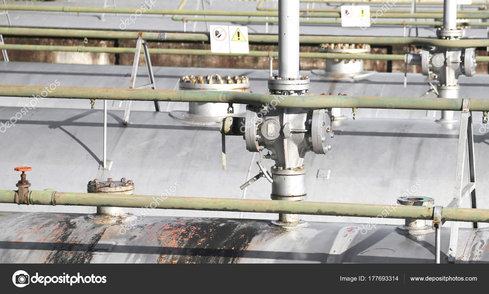 Safety valve above the large storage tank for gas inside and