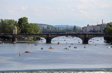 Prague, Czech Republic - August 23, 2016: Long Bridge over Vltav