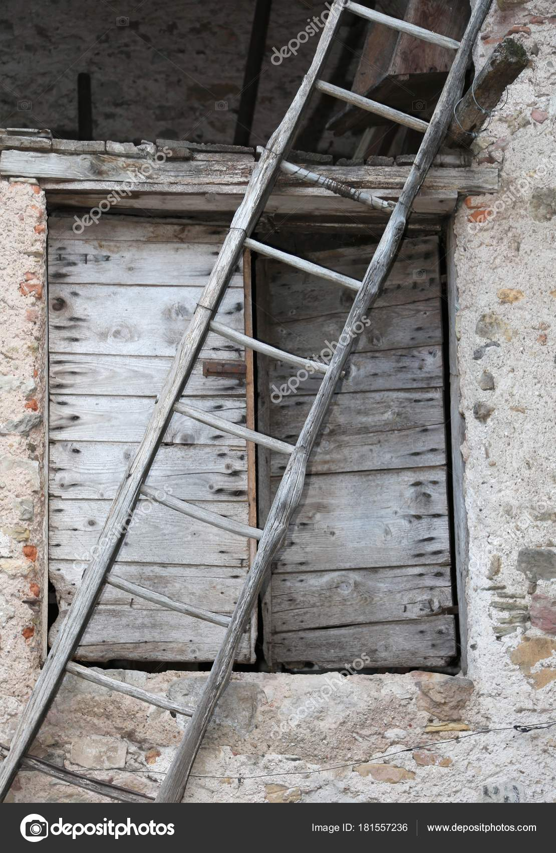 Very Old Wooden Ladder And A Door In The Farm Stock Photo