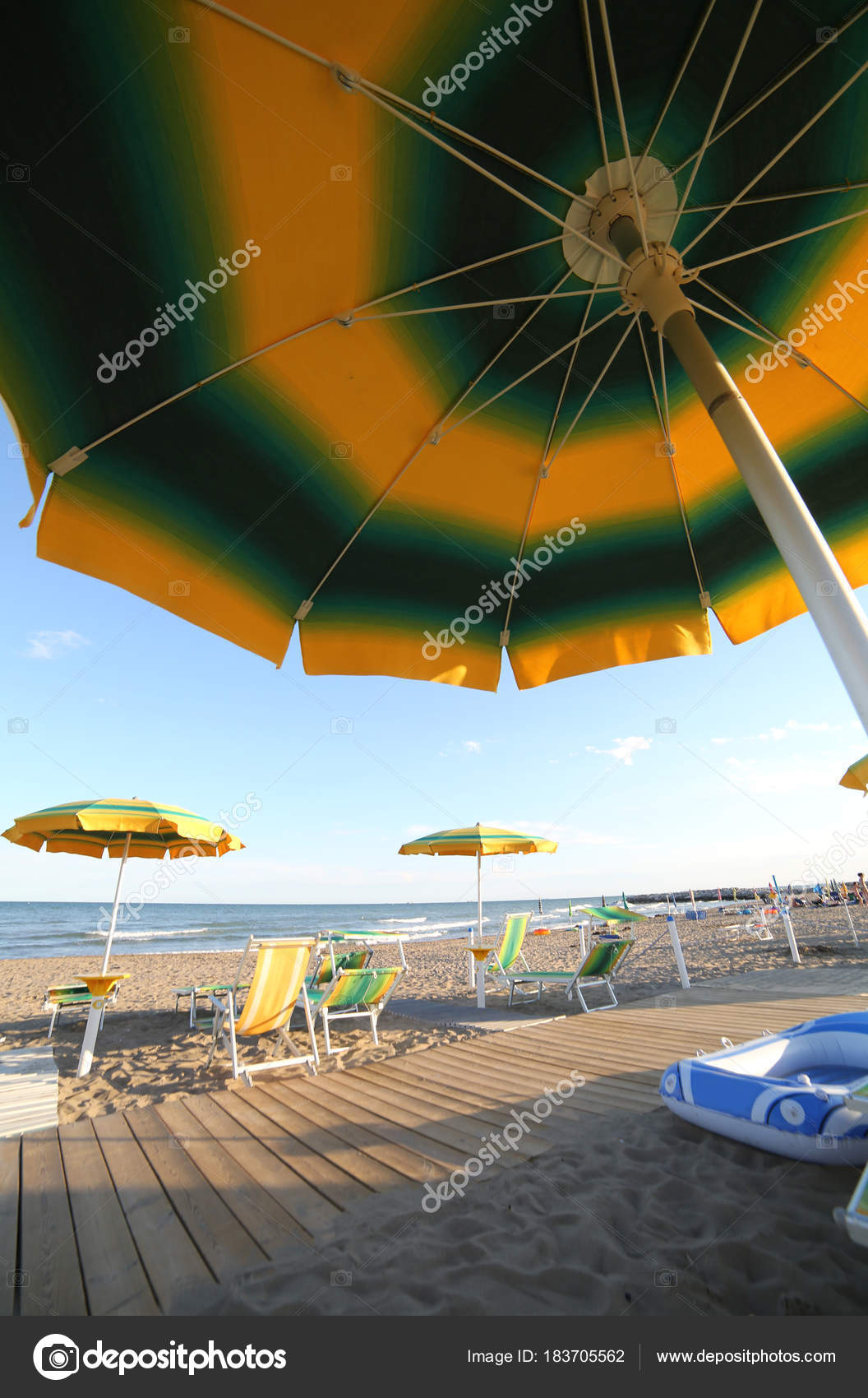 Umbrella On The Beach P Ographed From Below In The Summer Duri Stock P O