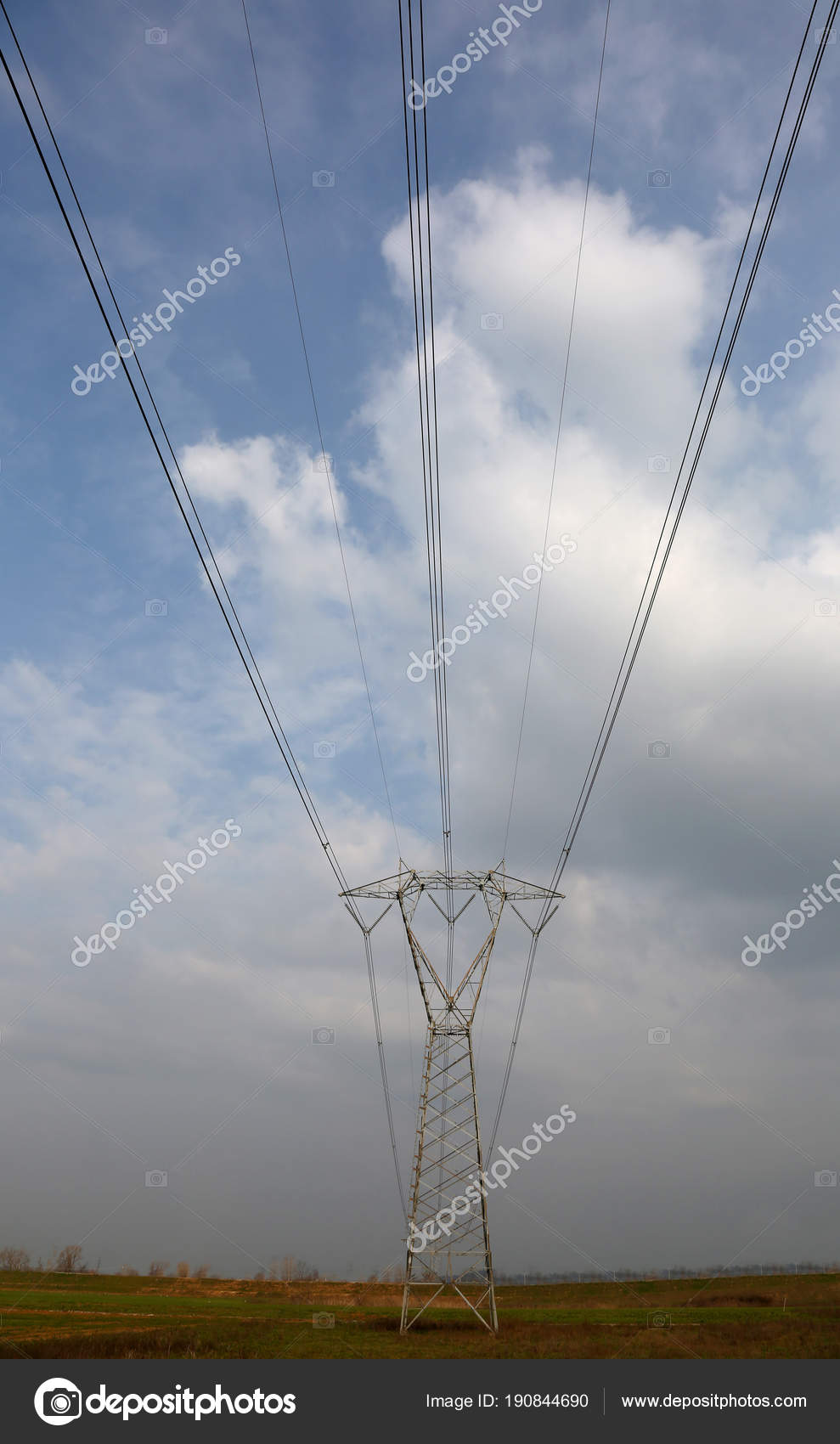 huge high voltage pylon with electric wires — Stock Photo ...