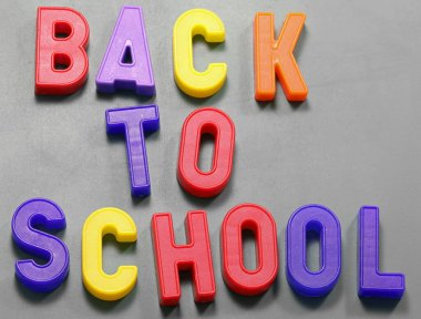Back to School text at blackboard