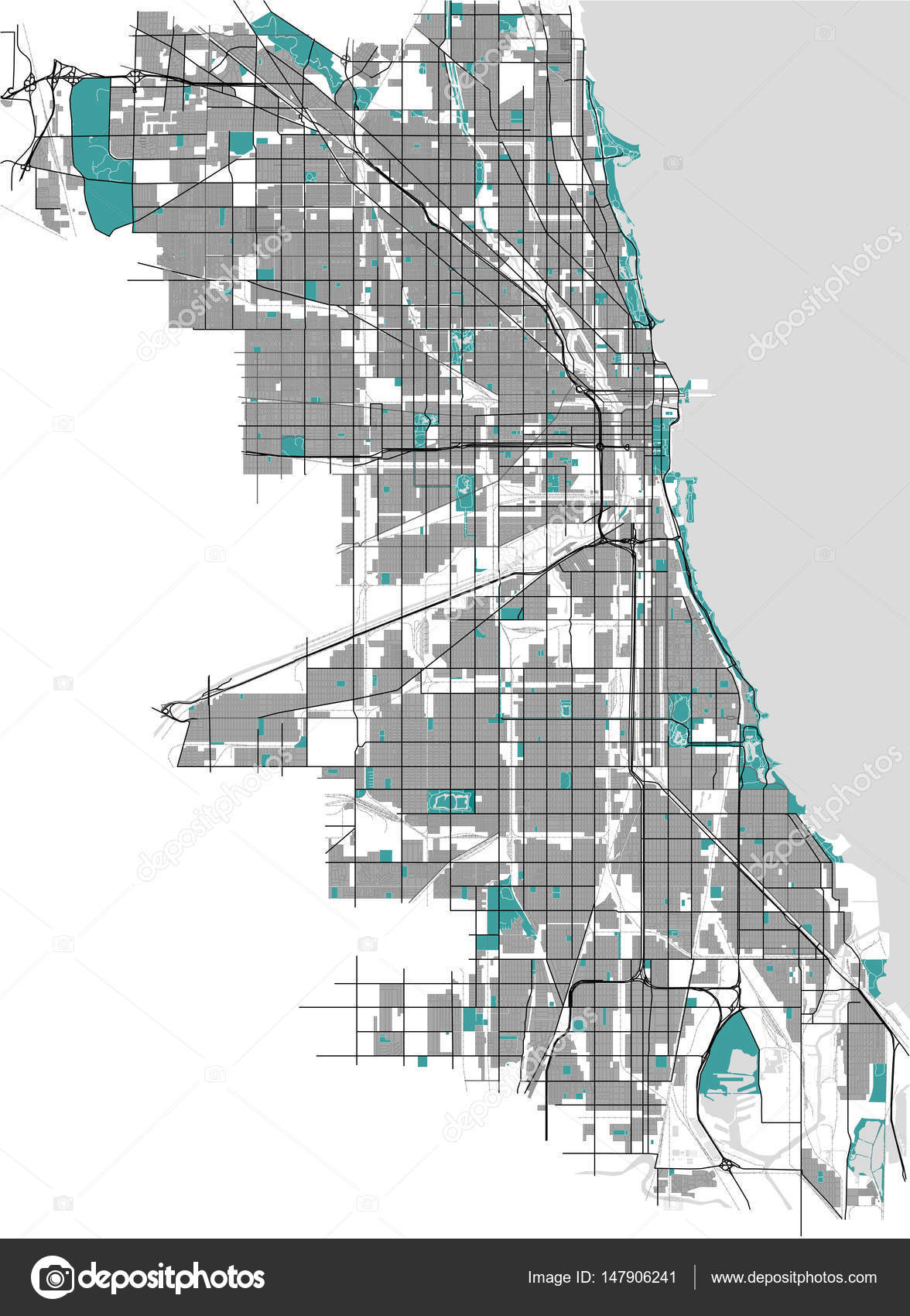 map of the city of Chicago USA Stock Vector tish11 147906241