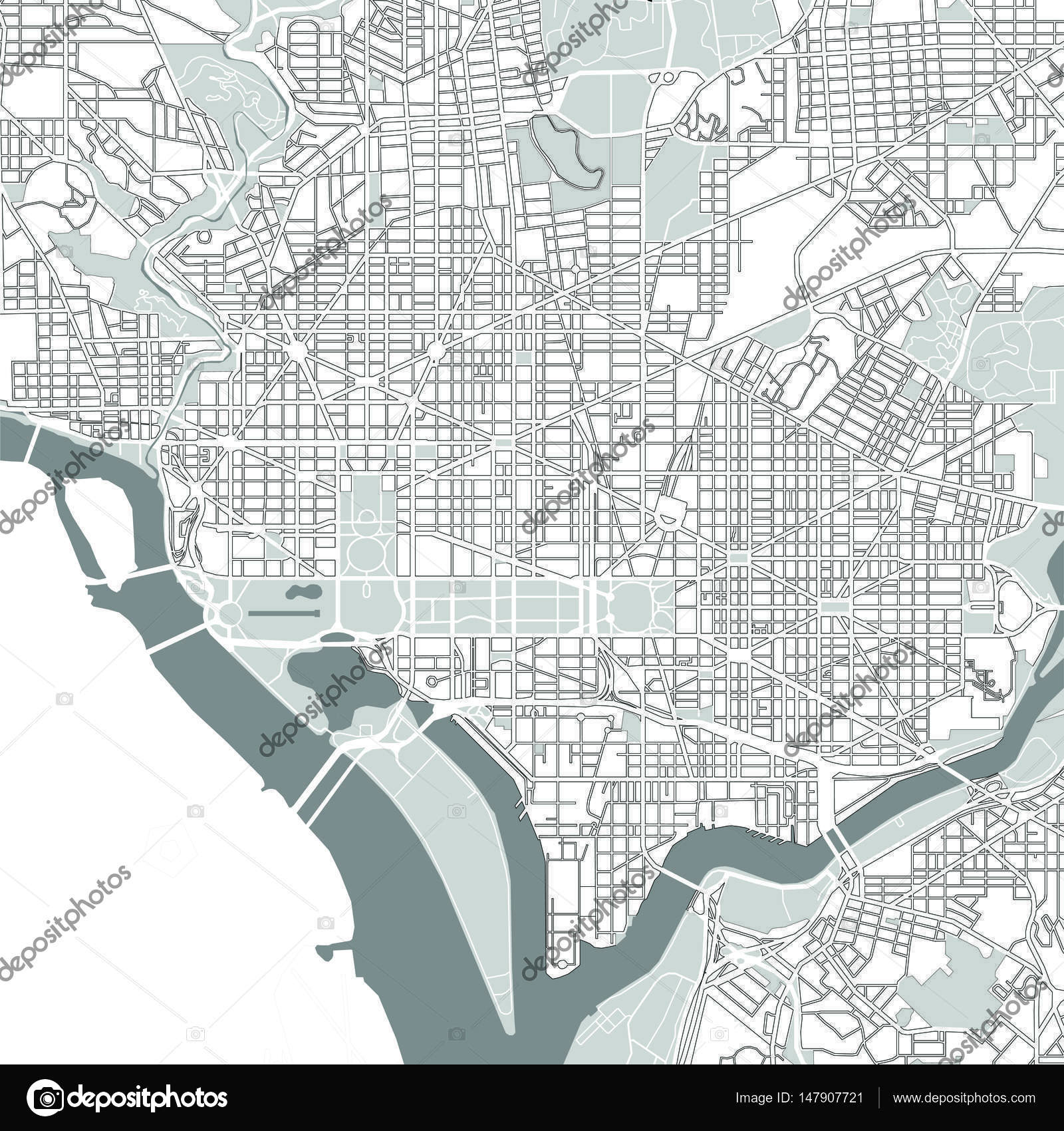 Washington Dc Map Download.Map Of The City Of Washington D C Usa Stock Vector C Tish11
