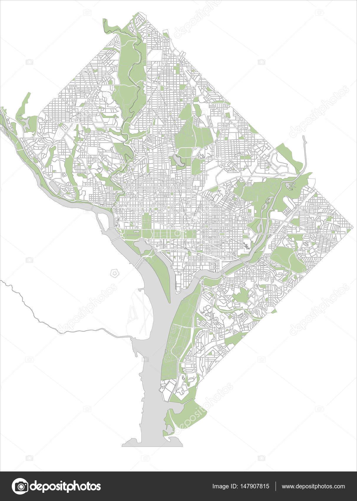 Map of the city of Washington, D.C., USA — Stock Vector ...