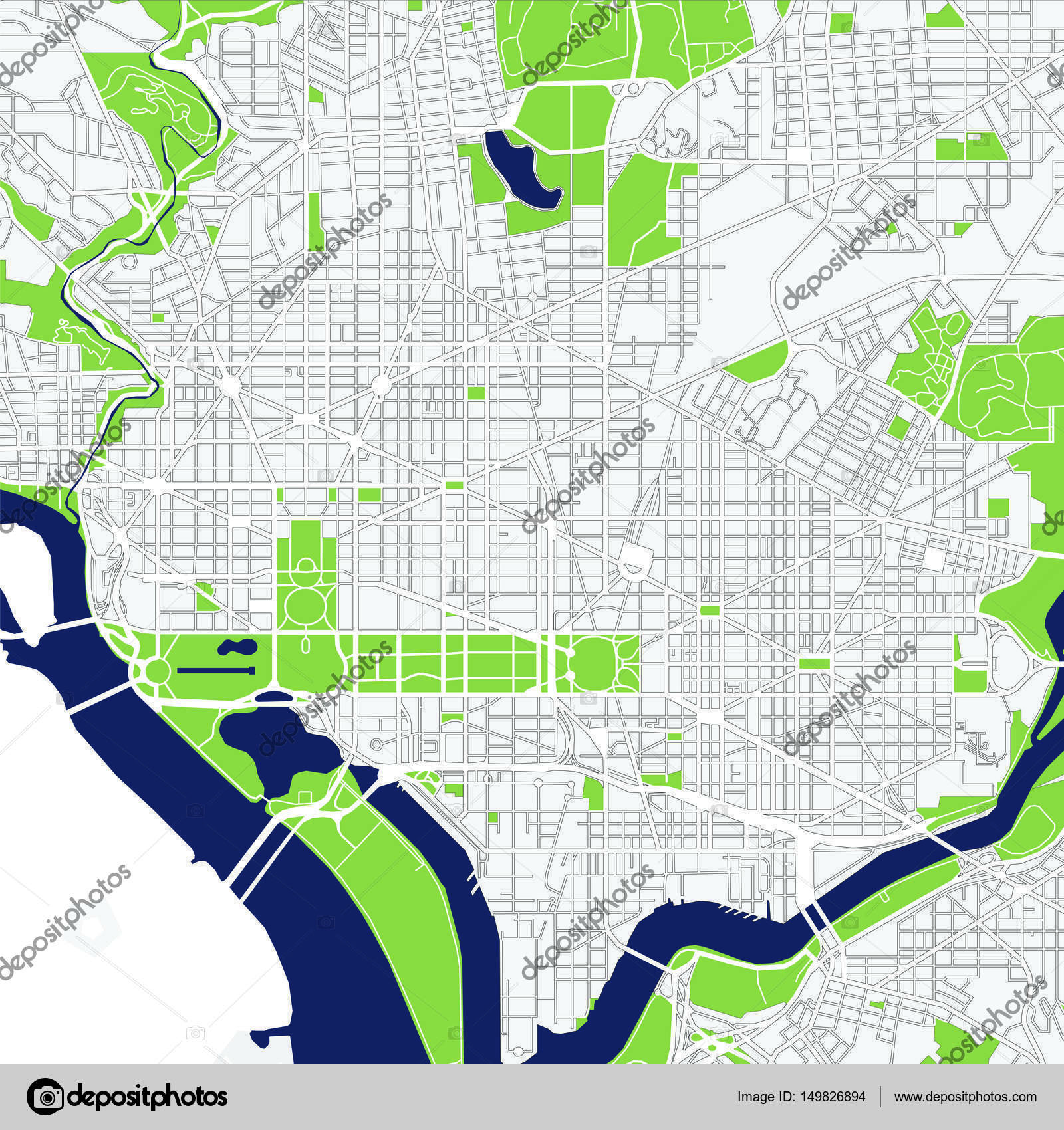 map of the city of Washington DC USA Stock Photo tish11