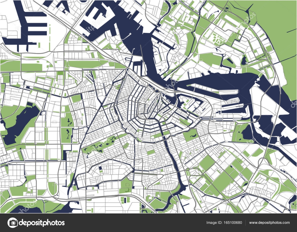 City Map of Amsterdam Netherlands Stock Vector tish11 165100680