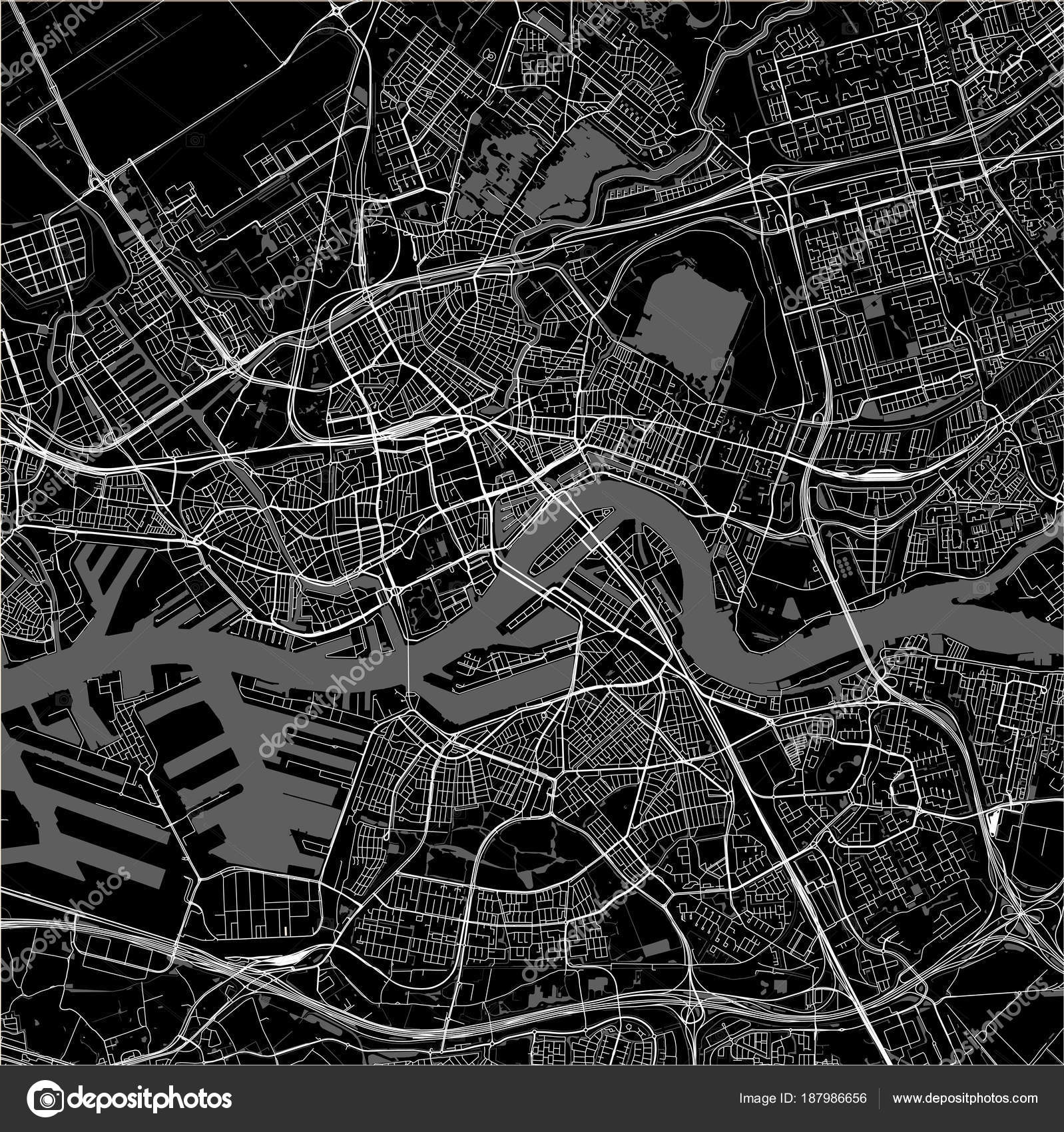 map of the city of Rotterdam in South Holland Netherlands Stock