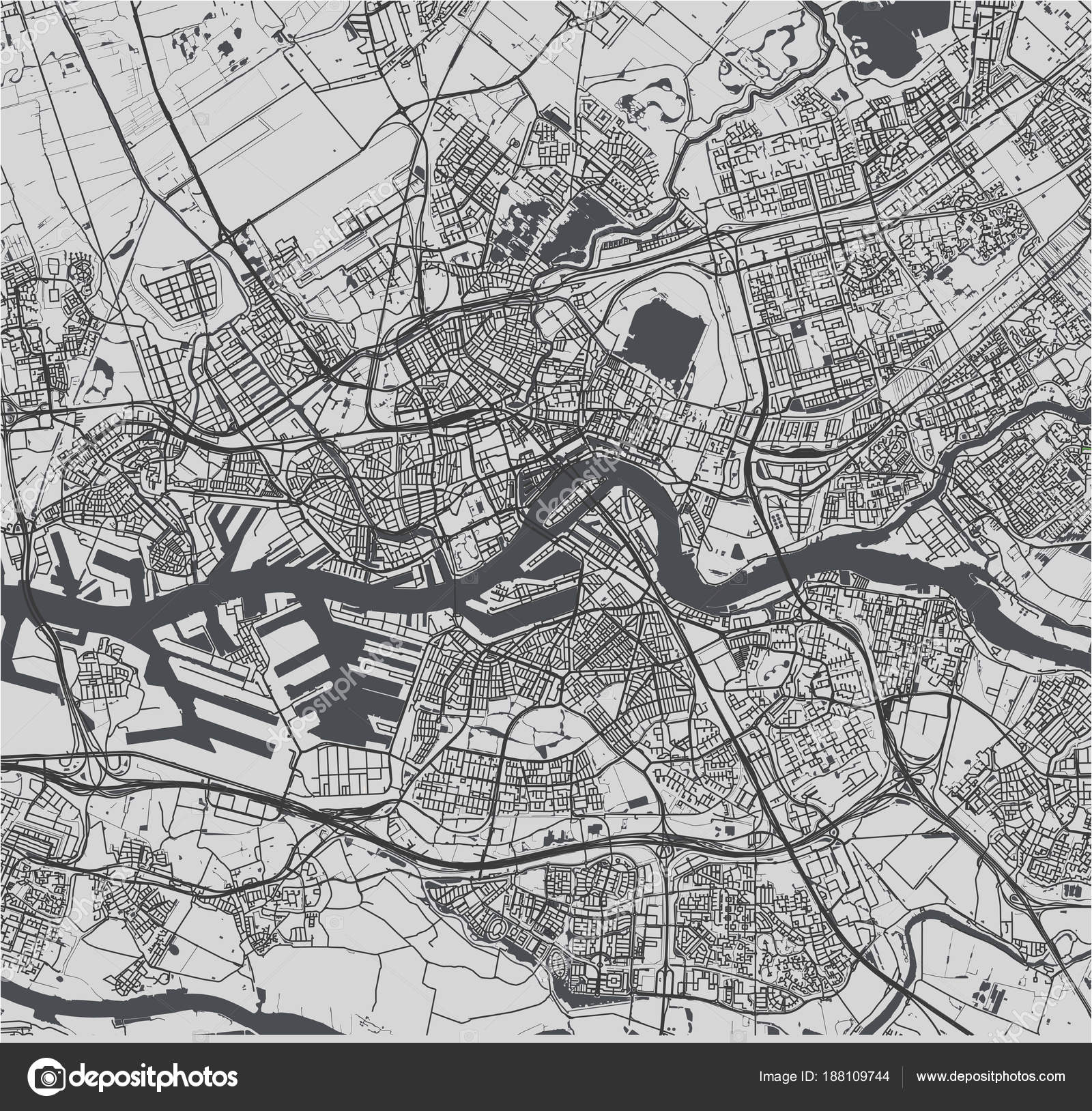 map of the city of Rotterdam, in South Holland, Netherlands — Stock ...