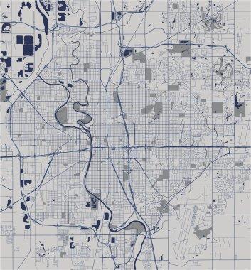map of the city of Wichita, Kansas, USA