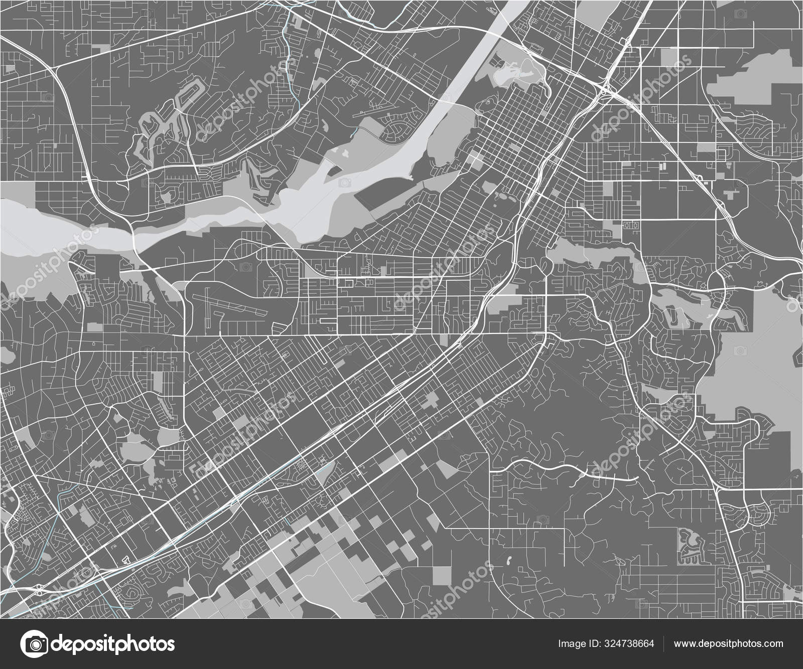 Map of the city of Riverside, California, USA — Stock Vector ...