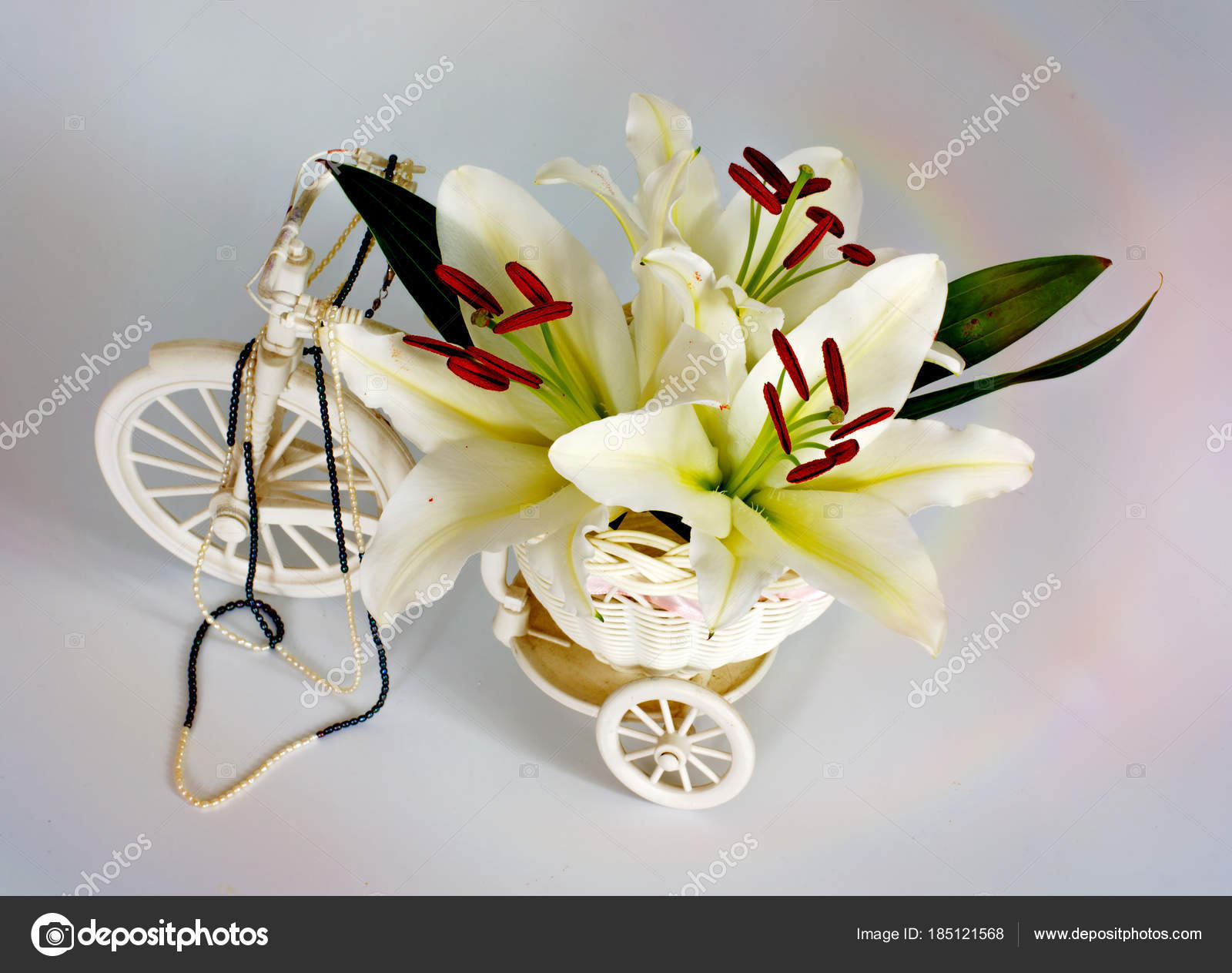 Flowers lilies adorned with stones and different decorations flowers lilies adorned with stones and different decorations stock photo izmirmasajfo