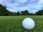 Golfový míček na trávě hřiště