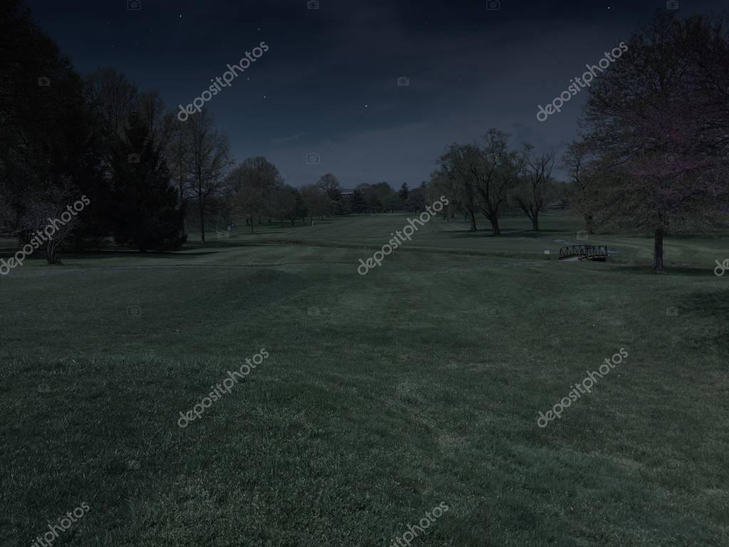 Фотообои Прекрасный вид, глядя вниз фарватера на поле для гольфа ночью до восхода солнца. Идеальный досуг спорта, чтобы играть рано утром