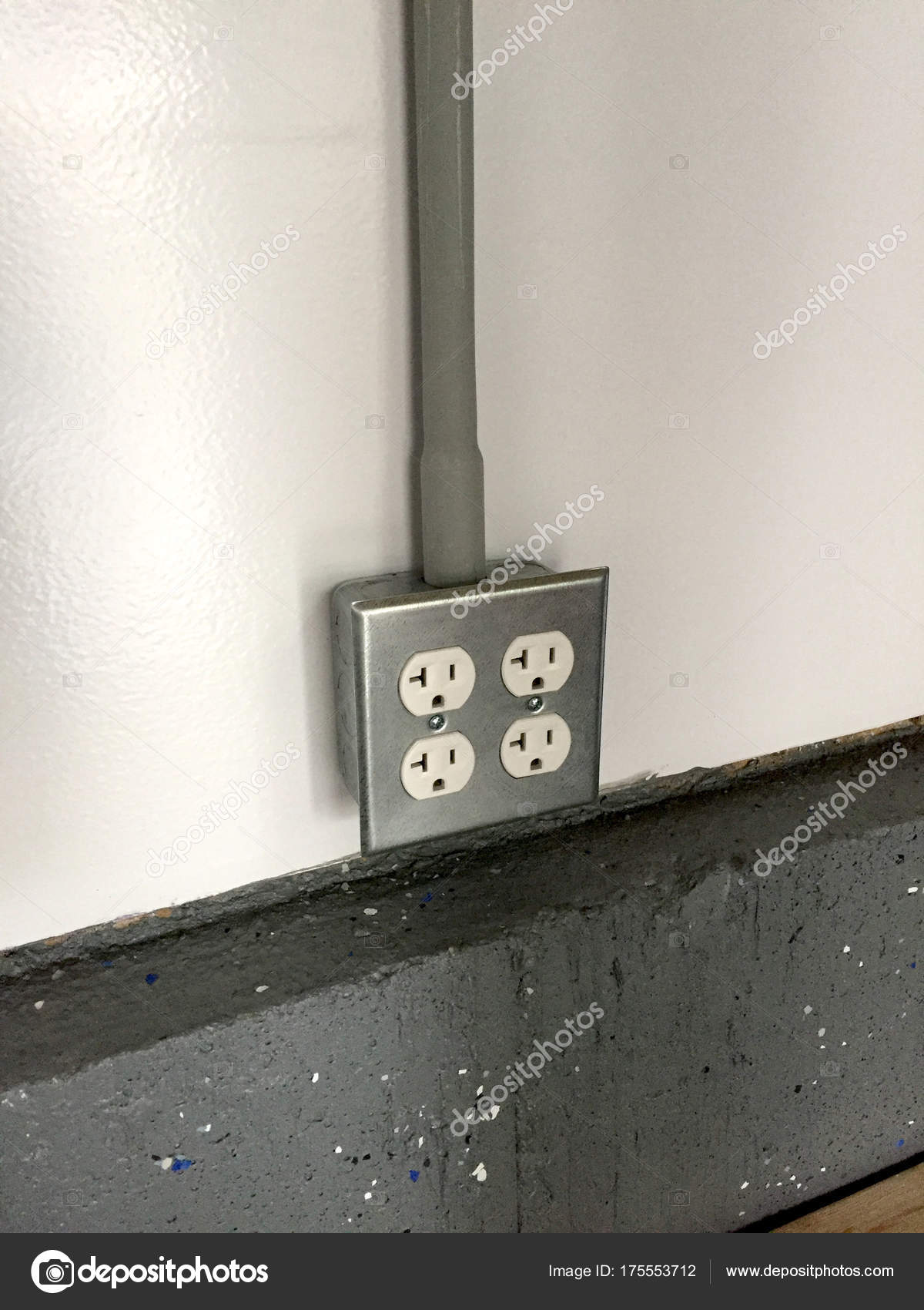 Gang Power Outlet Receptacle Box Mounted White Wall Concrete ...