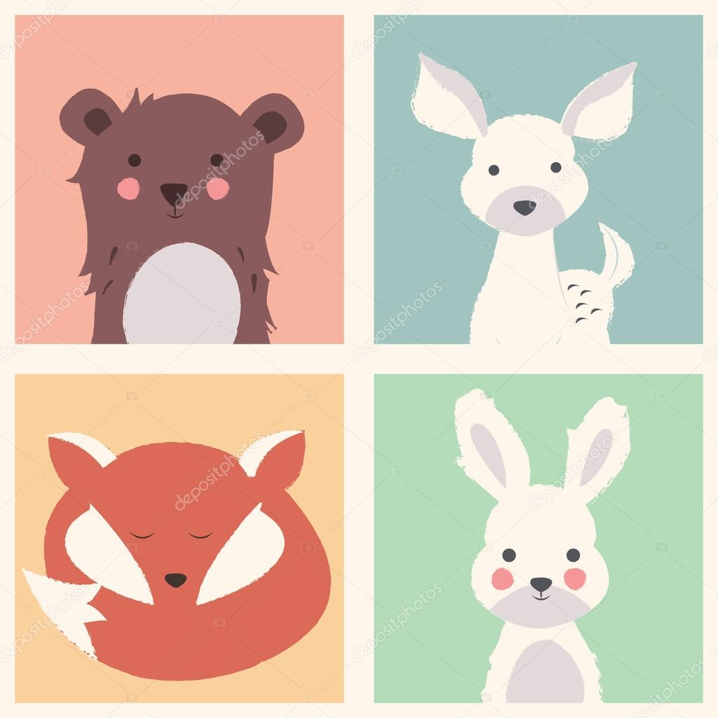 Collection of cute forest and polar animals with baby cubs, incl