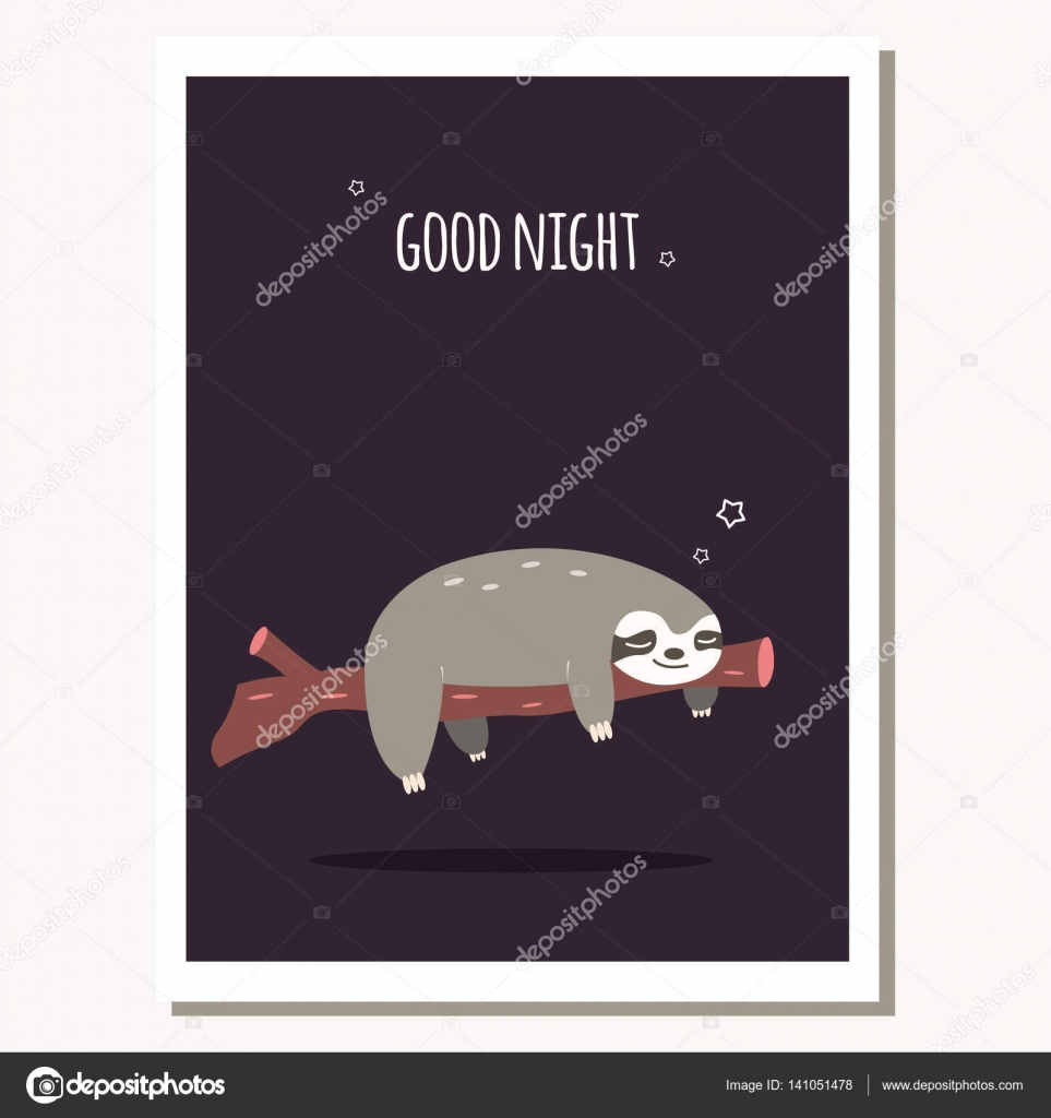 Greeting Card With Cute Lazy Sloth And Text Message Stock Vector