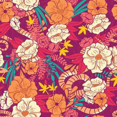 Floral jungle with snakes seamless pattern, tropical flowers and leaves, botanical hand drawn vibrant vector illustration
