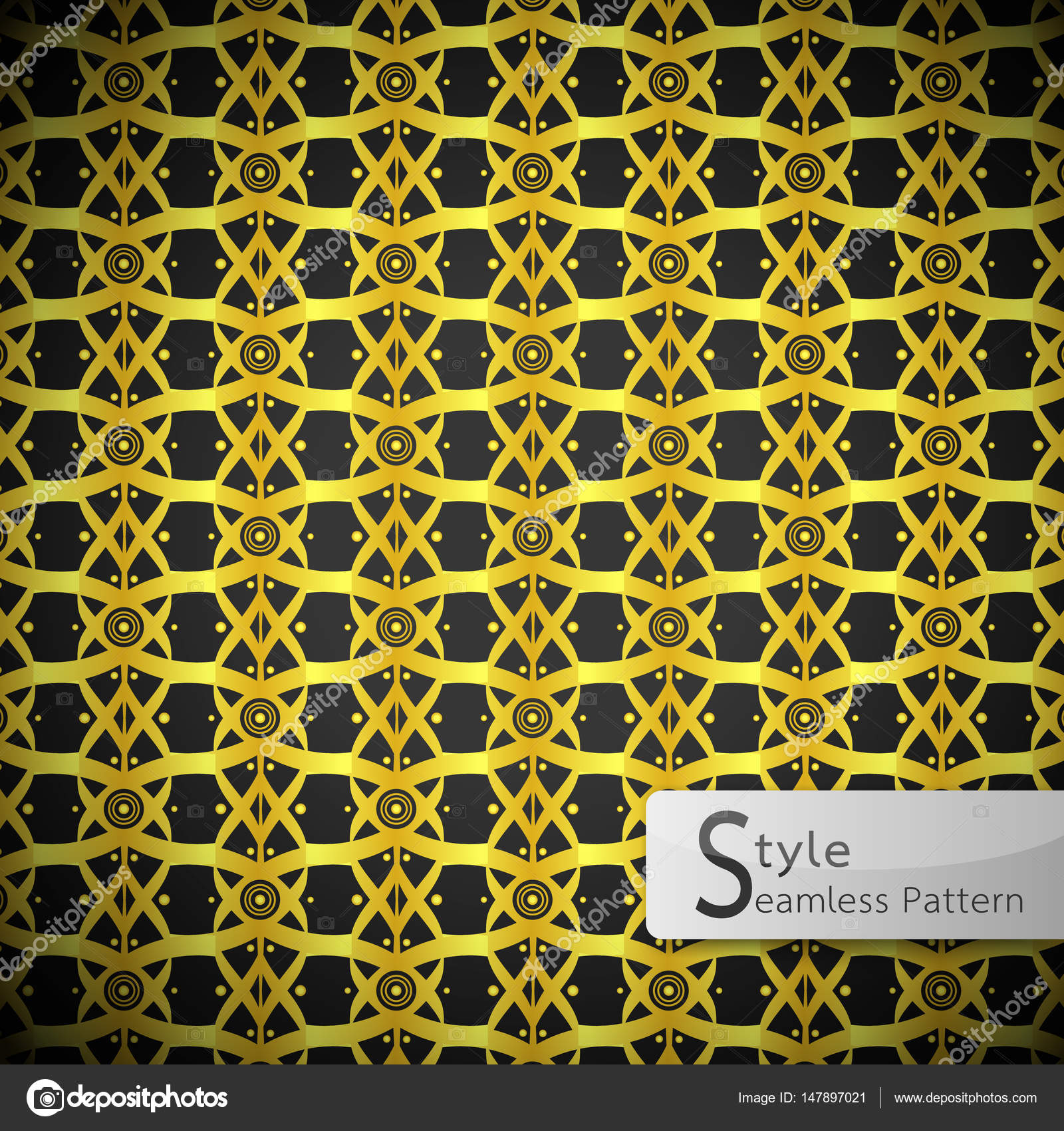 Lattice Lotus Flower Ribbon Gold Vintage Geometric Seamless Patt