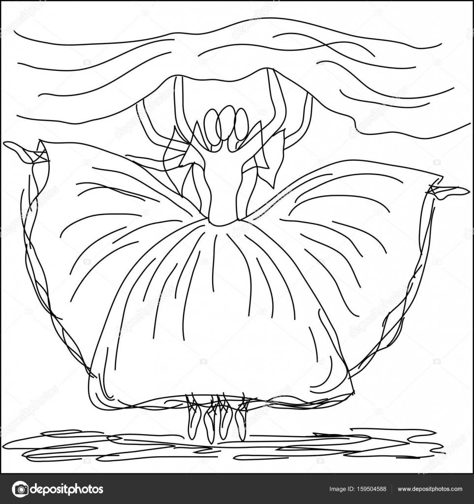 Tres bailarinas bailes, contorno dibujado a mano. Ballet, pack ...