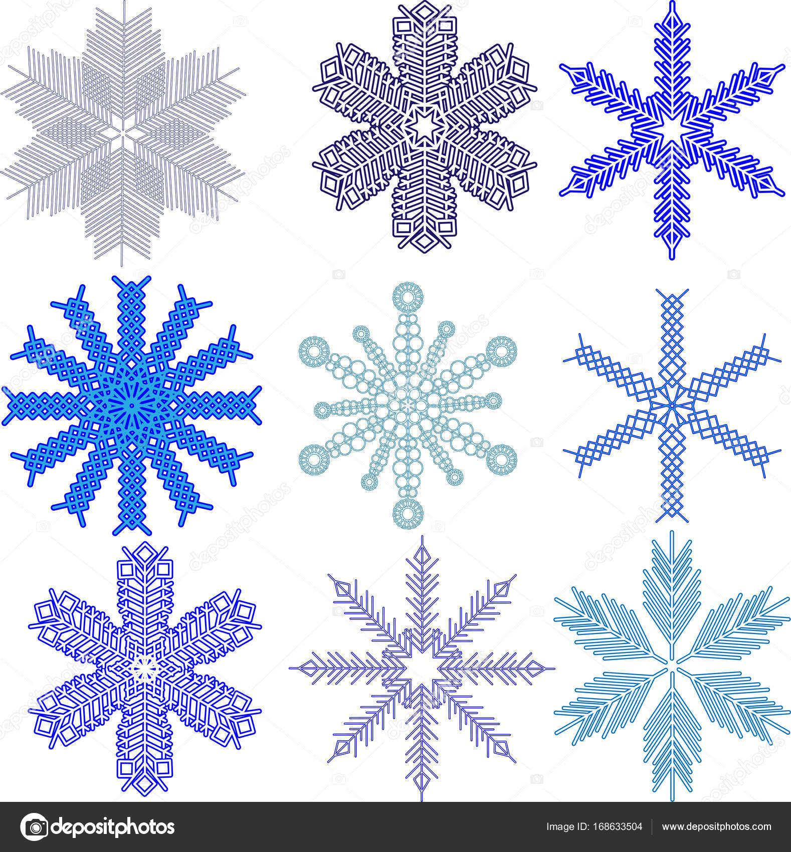 Vektor-Schneeflocken-Set. Schnee, Weihnachten, Schneeflocke ...