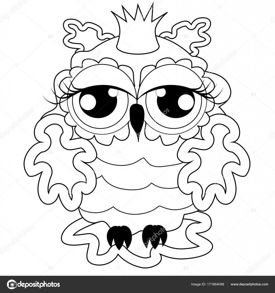 Göz Alıcı Pembe Baykuş Prenses Tacı Olan Stok Vektör Michiru13