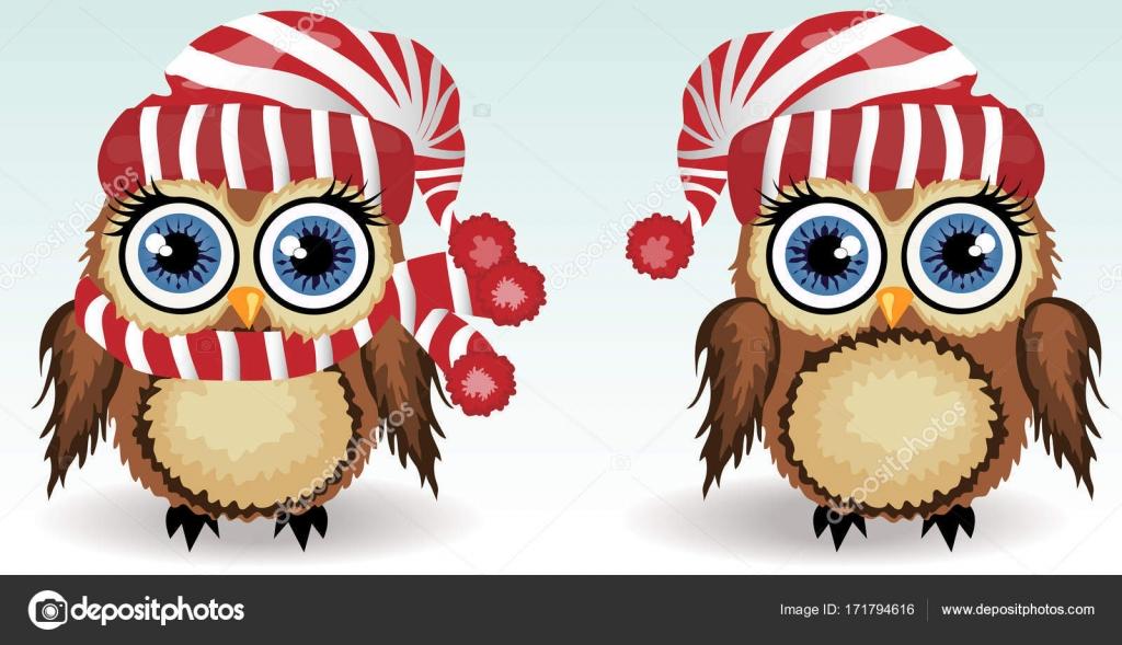 Dos pequeños búhos lindos en ropa de invierno: rojo rayados ...