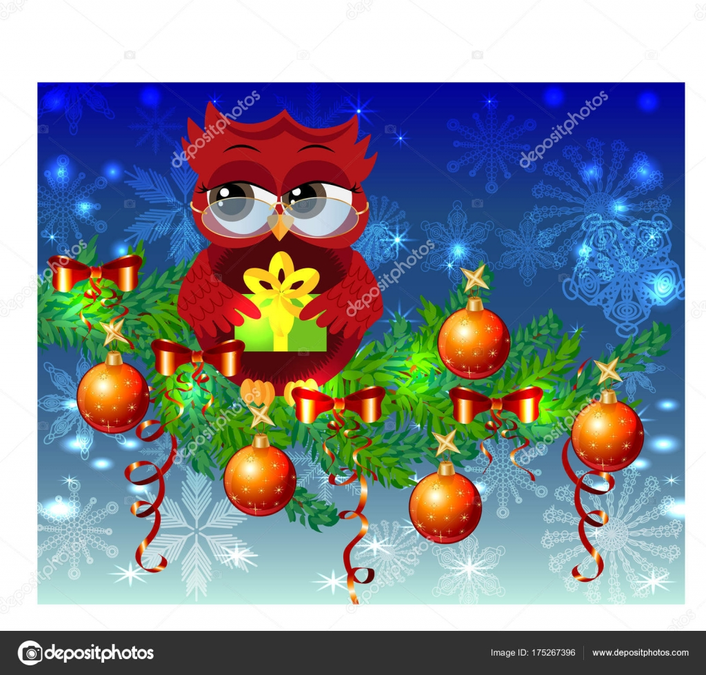 A sweet cartoon like coquettish red owl with a christmas present a sweet cartoon like coquettish red owl with a christmas present sits on a decorated with balls bows light emitting spruce branches christmas card kristyandbryce Gallery