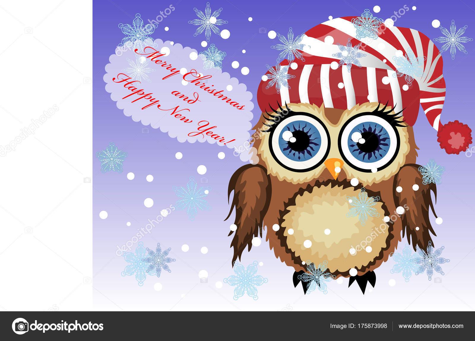 Hübschen Cartoon kokett Eule sagen glücklich Frohe Weihnachten und ...
