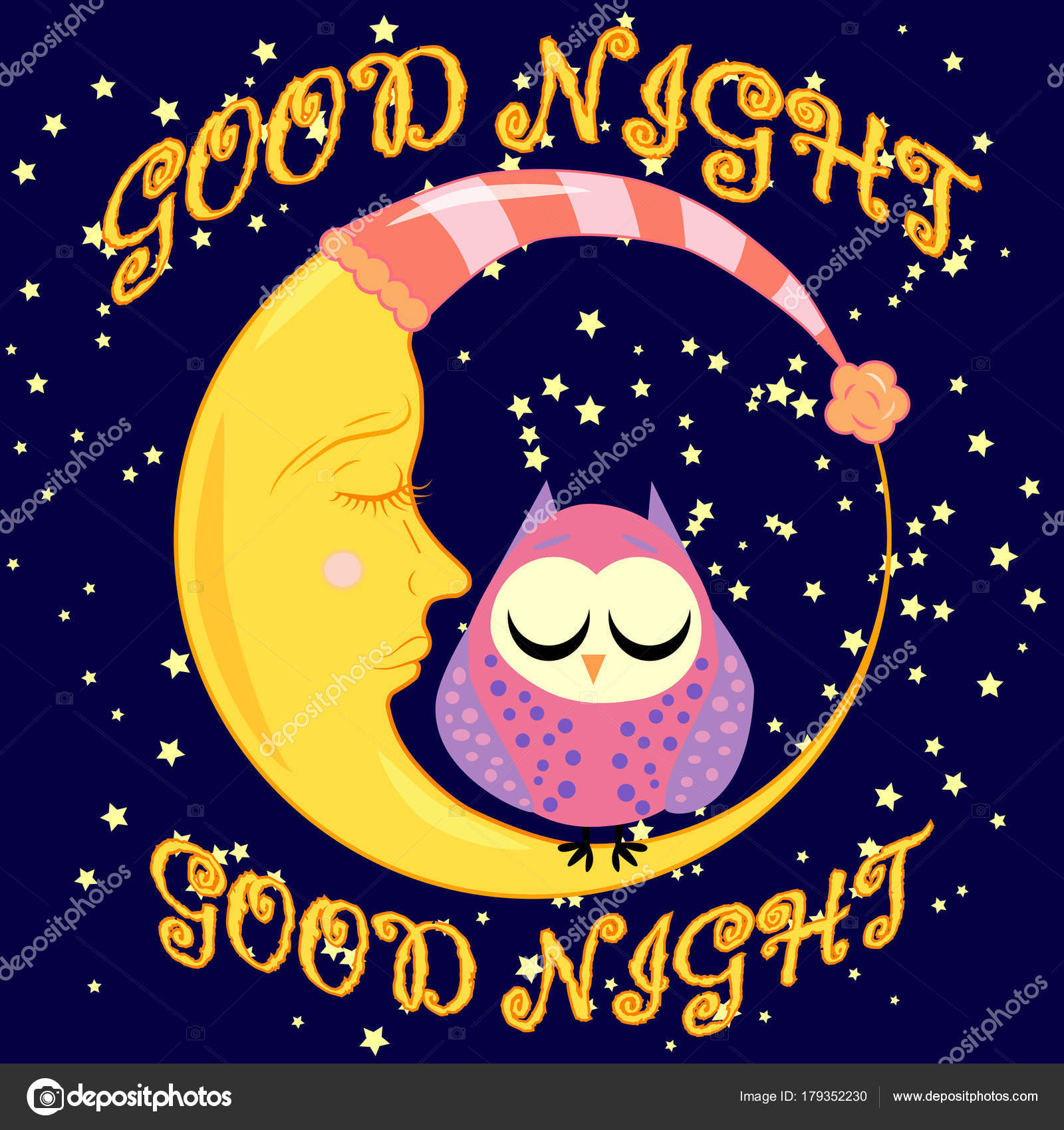 Carta Di Buona Notte Con Luna E Gufo Sveglio Di Sonno Illustrazione