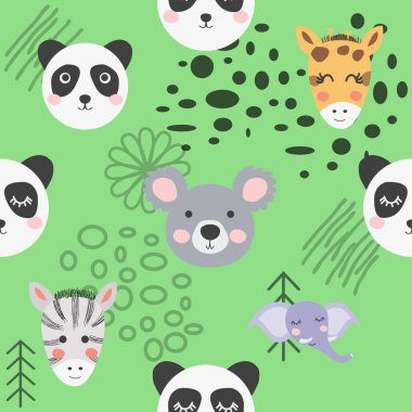 Cute hand drawn nursery seamless pattern with wild animals in sc
