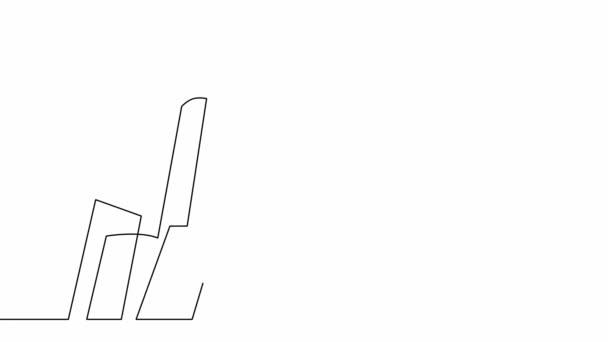 Városfelhőkarcolók folyamatos vonalrajzolásának animációja