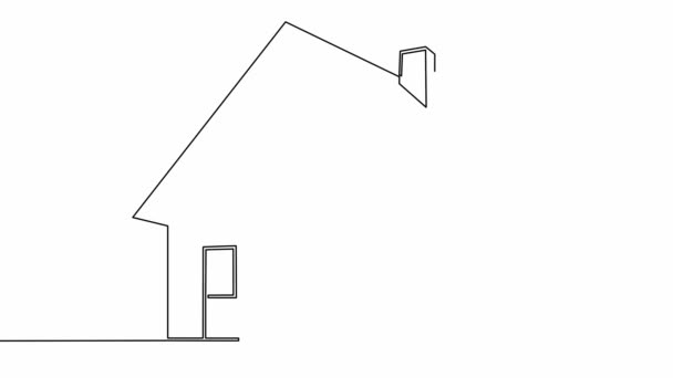 Self drawing simple animation of single continuous one line drawing logo, sign, home, house, shape, architecture,