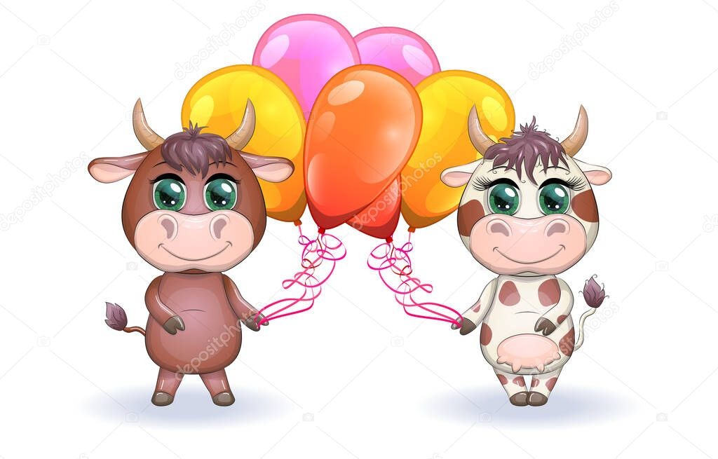 Cute Cartoon Couple Cow And Bull With Balloons Holiday With Beautiful Big Eyes Symbol Of The Year 2021 According To The Chinese Calendar Children S Illustration Premium Vector In Adobe Illustrator Ai