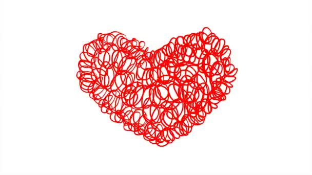 Doodle heart shaped. Red on a white background. Symbol of love. Valentines Day. Design element. Hand-drawn animation.
