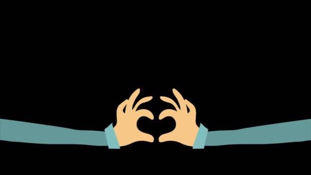 Obě ruce jsou spojené. Prsty ve tvaru srdíčka. Černé pozadí. Valentýn. Láska a city. Vektorová grafika. 2d animace