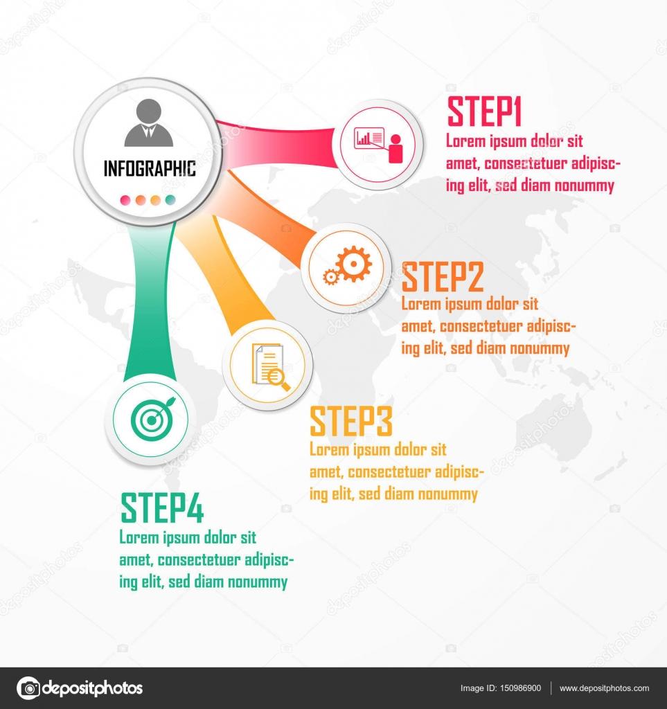 Elemente für Vektor-Infografik. Design-Konzept mit 4 Optionen, Teile ...