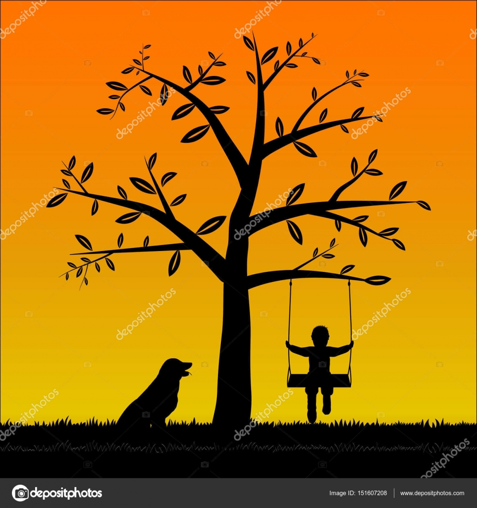 Silhouette Tree and The boy on the swing and his dog — Stock Vector ...