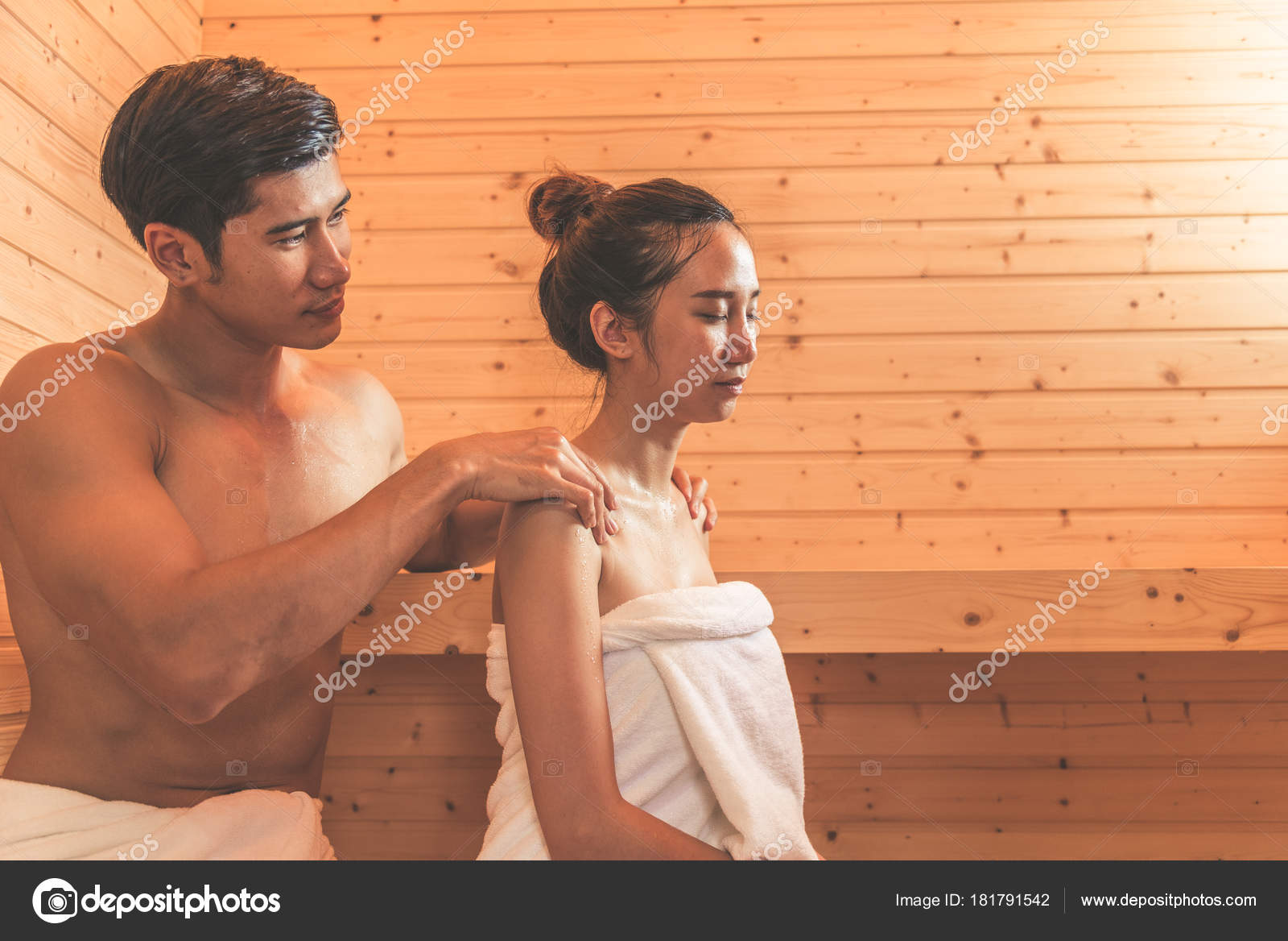 Young Asian Couples Or Lovers Have Romantic Relaxing In Sauna Room Skin Care Heat Treatment And Body Clean Up Refreshing Spa With Steam Bath