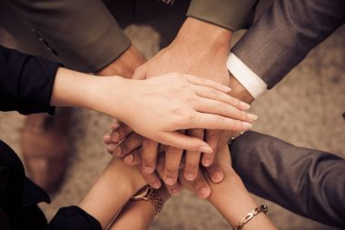 Business people Hands Assemble Corporate in Meeting and Teamwork concept. Group of teamwork and cooperation theme. together teamwork