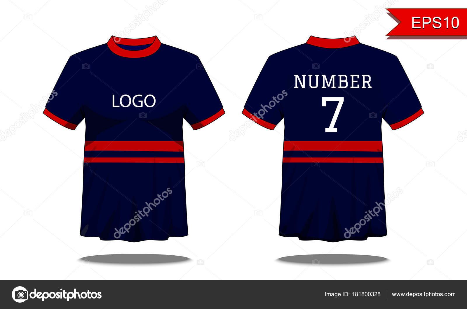 Deporte camiseta de los hombres con manga corta en frente y vista  posterior. Azul oscuro con raya roja y Editable de color de diseño. f042a534c37c3