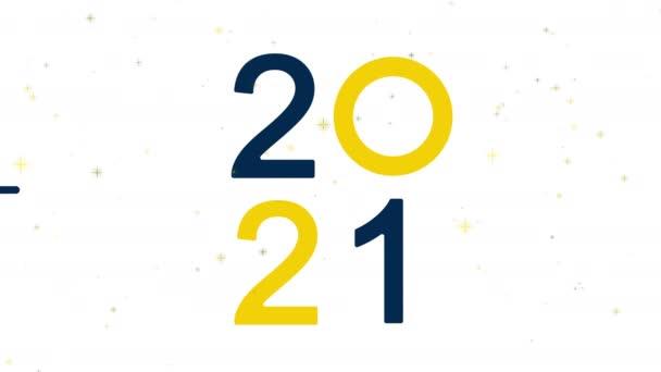 Boldog új évet 2021 ábécé szöveg elszigetelt fehér háttér. Tipográfia betűtípus grafikus desgin. 4k videó videó mozgókép grafikai tervezés