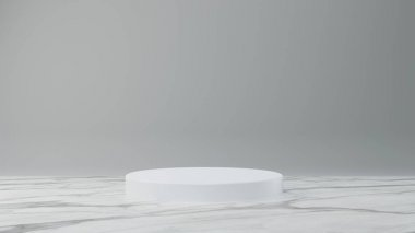 White product stand on white marble background. Abstract minimal