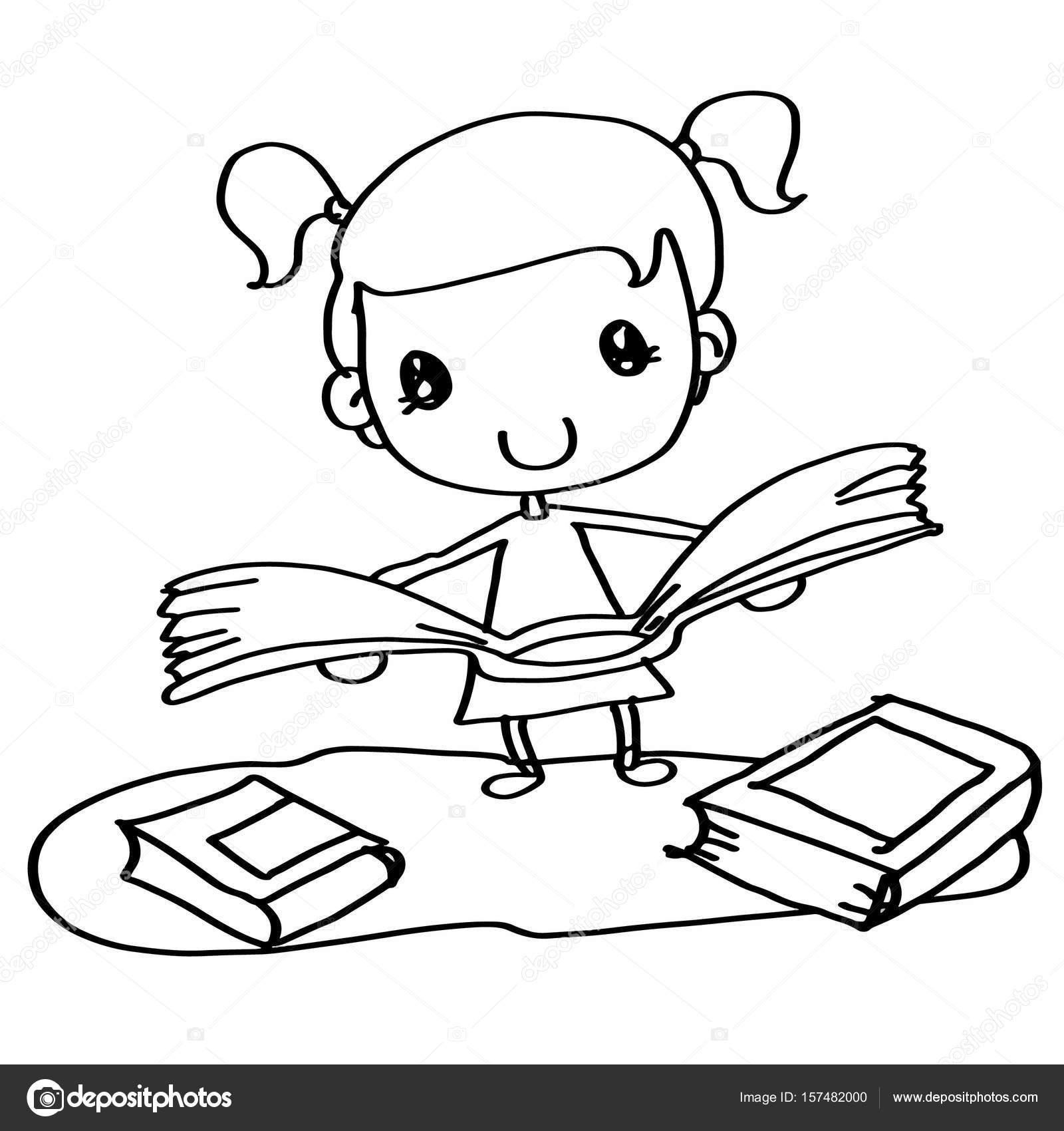 Sevimli Kız Bir Kitap Boyama Okuma Stok Foto Designartks 157482000