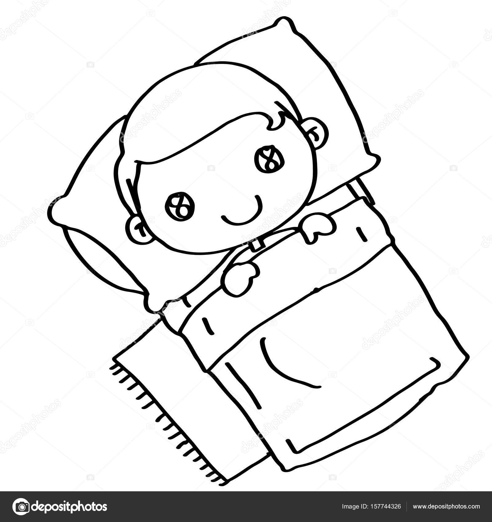 Sleeping Child In Bed Coloring Stock Photo C Designartks 157744326