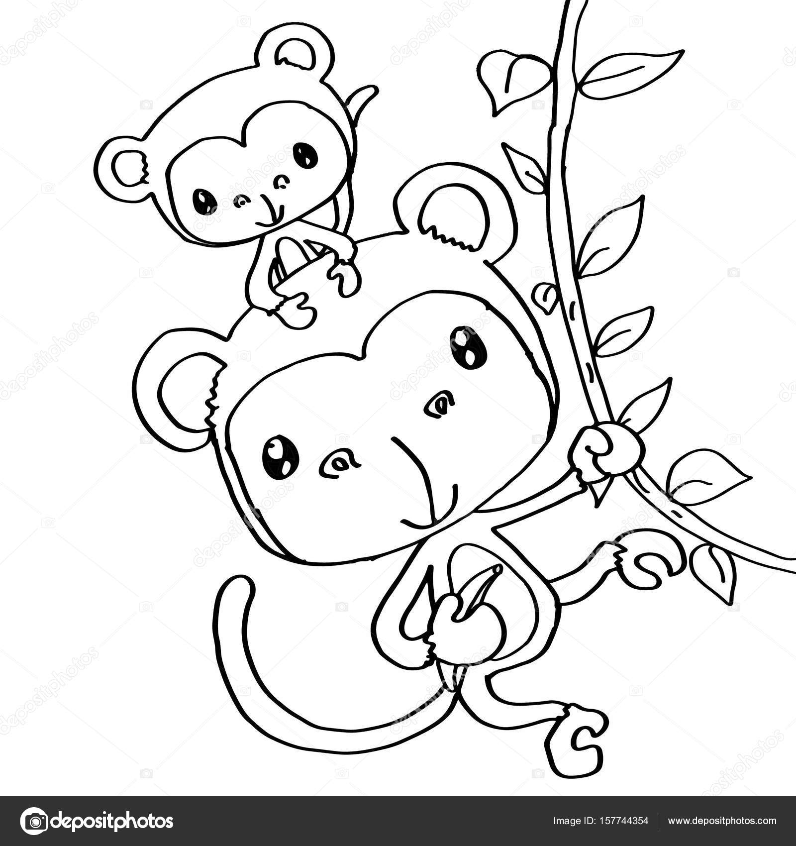 Kleurplaten Baby.Moeder Monkey En Kleurplaten Baby Stockfoto C Designartks 157744354