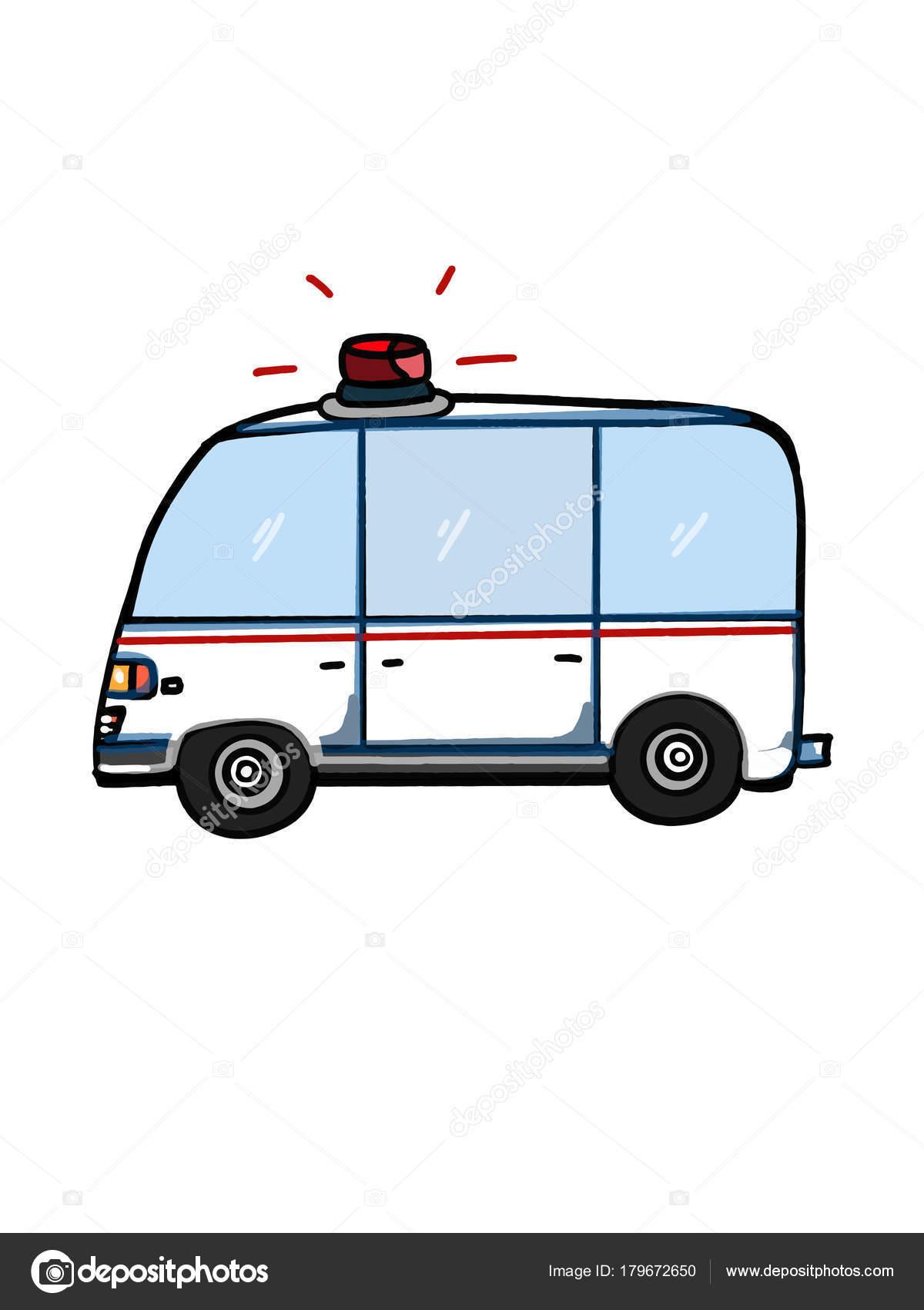 Dibujo Para Colorear Historieta Ilustración Del Vehículo Ambulancia ...