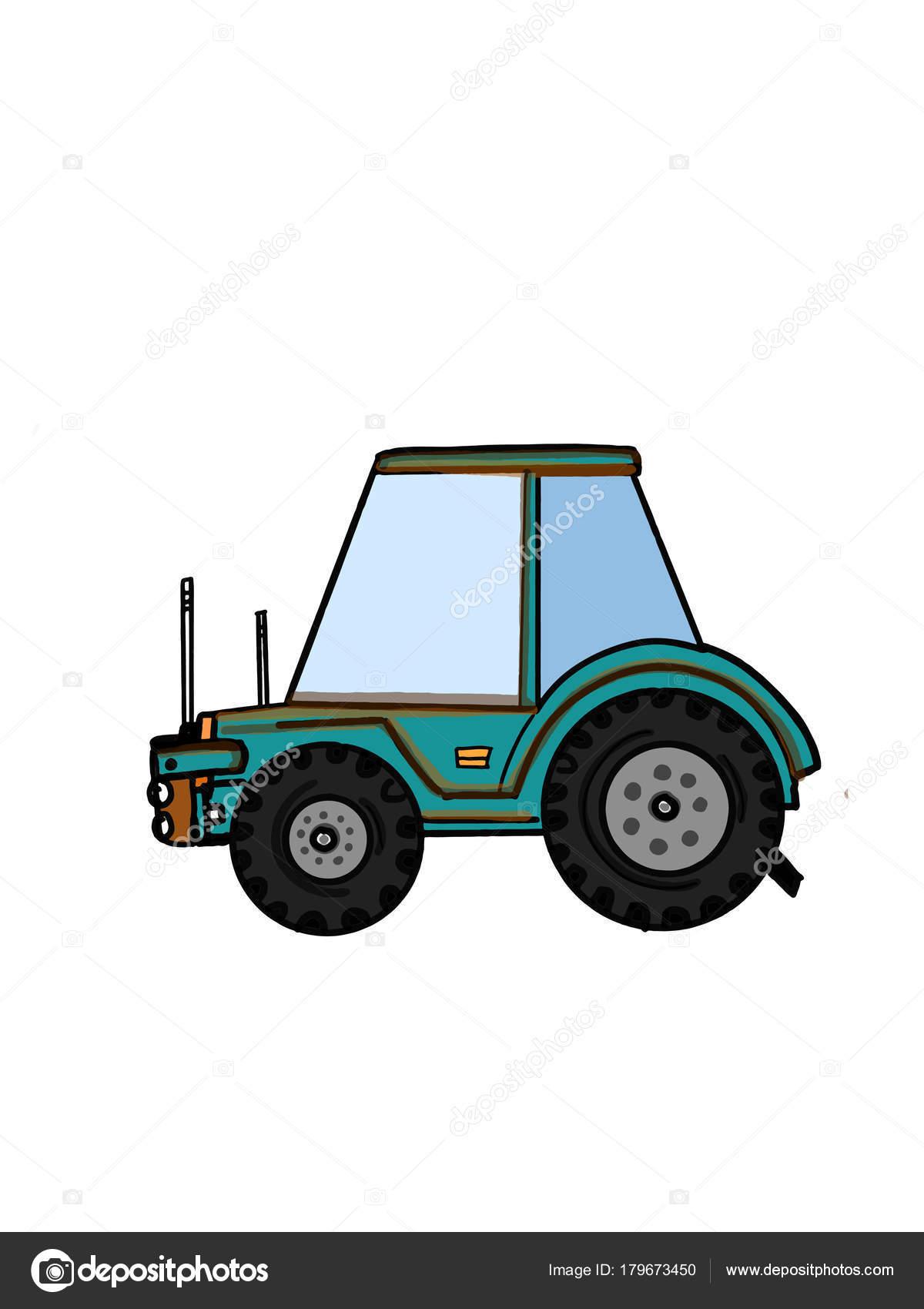 Vehículo Camión Tractor Dibujos Animados Ilustración Dibujo Para ...