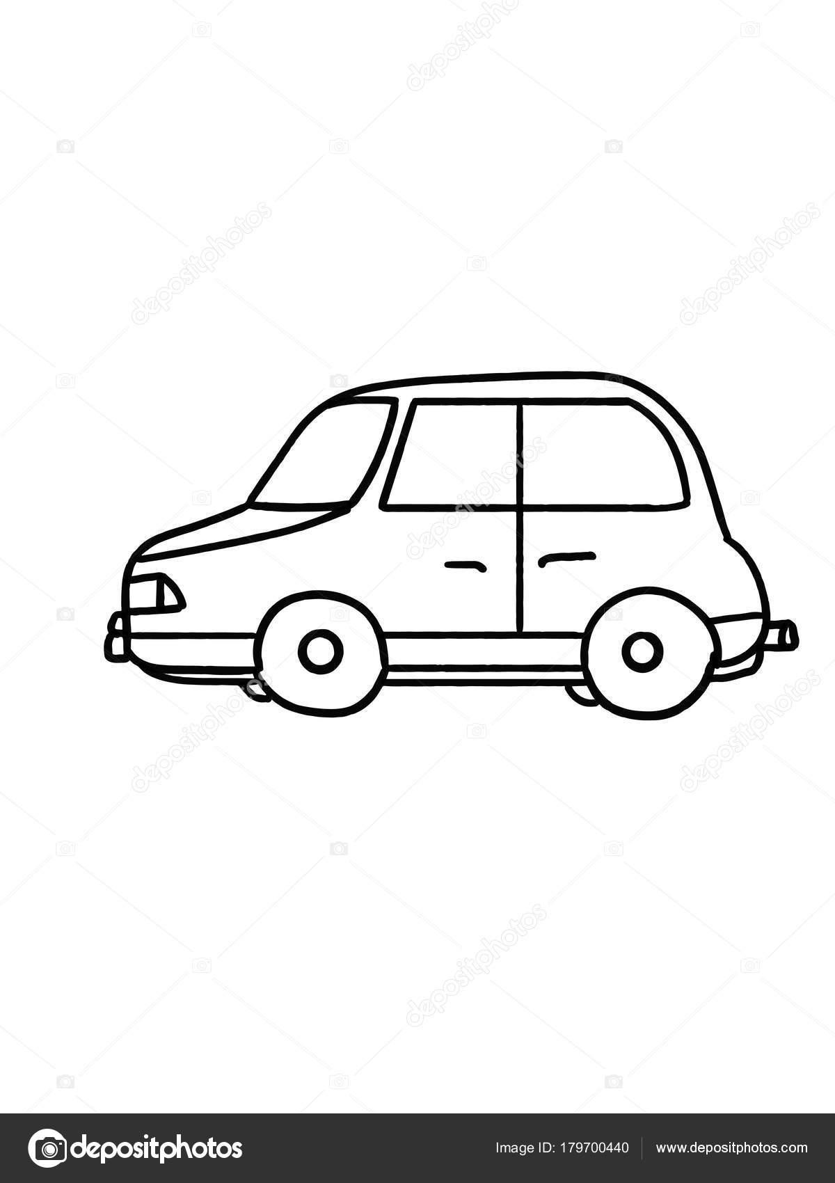 ぬりえ車黄色のタクシー イラスト漫画 ストック写真 Designartks